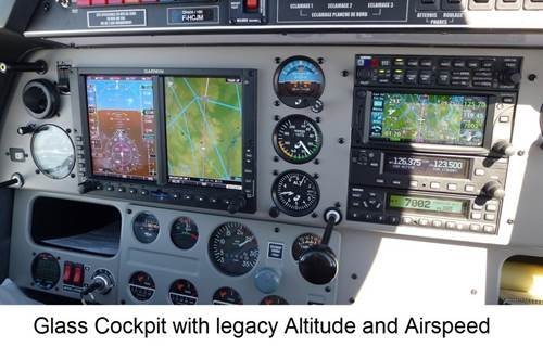 Glass Cockpit with legacy Altitude and Airspeed